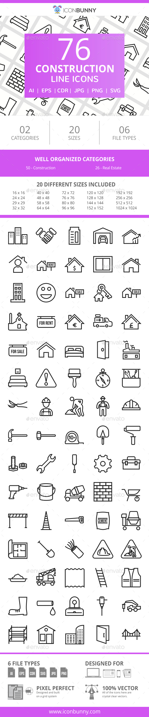 76 Construction Line Icons - Icons