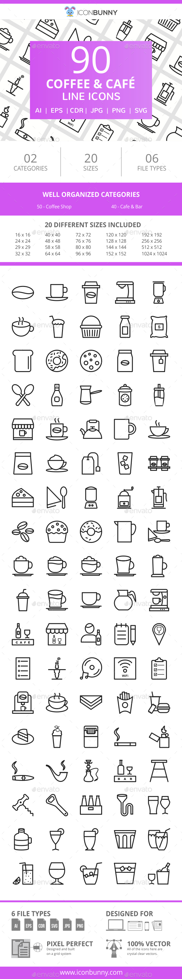 90 Coffee & Cafe Line Icons - Icons