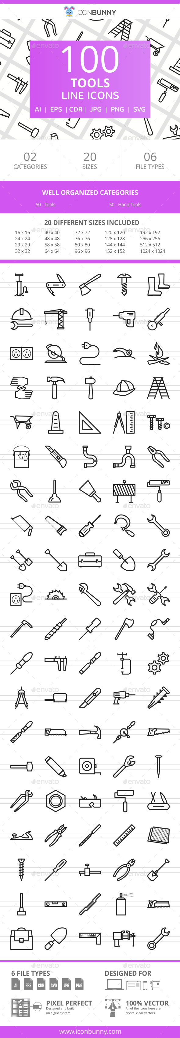 100 Tools Line Icons - Icons