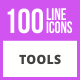 100 Tools Line Icons