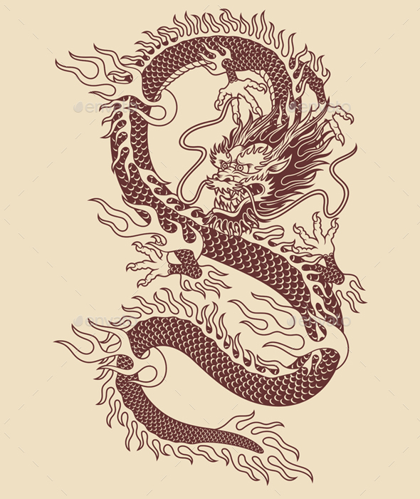 Traditional Asian Dragon Vector Illustration - Tattoos Vectors