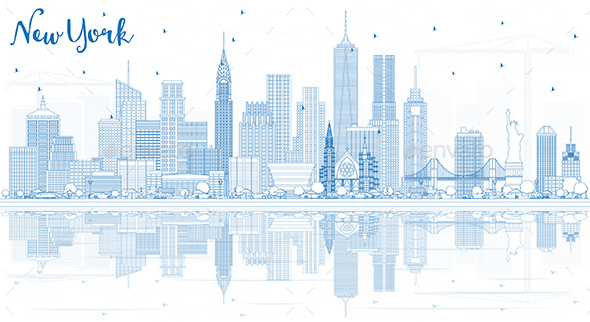 Outline New York USA City Skyline with Blue Buildings and Reflections. - Buildings Objects