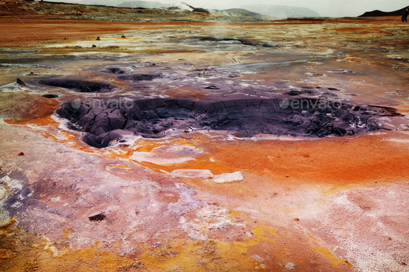 Geothermal zone in Iceland - Stock Photo - Images