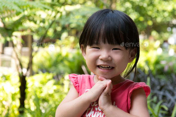 Portrait of beautiful asian child - Stock Photo - Images