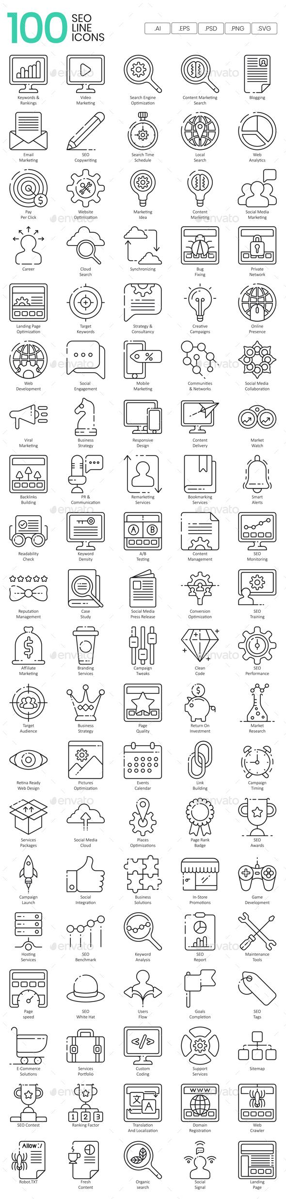 SEO Line Icons - Web Icons