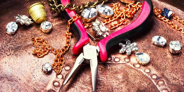 Making of handmade jewellery - Stock Photo - Images