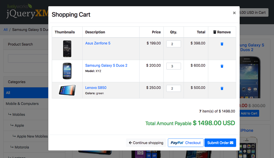 JQuery XML Store Shop - Shopping Cart