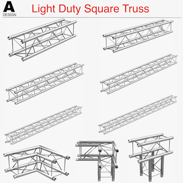 Light Duty Square Truss (Collection 9 Modular Pieces) - 3DOcean Item for Sale