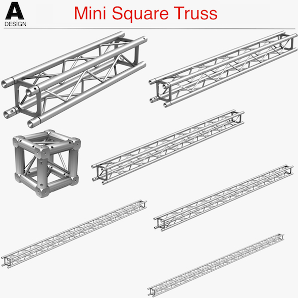 Mini Square Truss (Collection 7 Modular Pieces) - 3DOcean Item for Sale