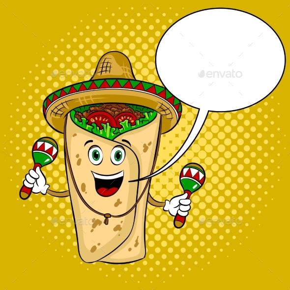 Burrito and Maraca Pop Art Vector Illustration - Food Objects