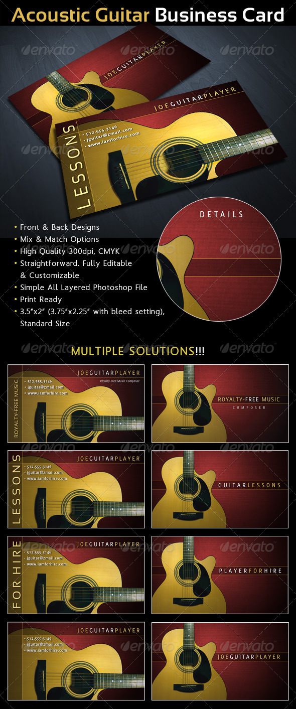 Acoustic Guitar Musician Business Card - Industry Specific Business Cards