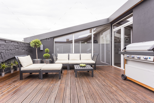 Cozy terrace with wooden floor - Stock Photo - Images