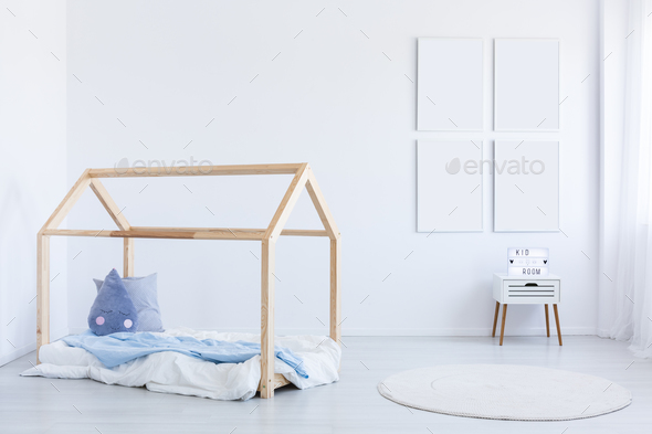 Boy's interior with blue accent - Stock Photo - Images