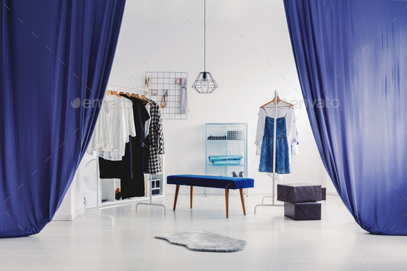 White and blue dressing room - Stock Photo - Images
