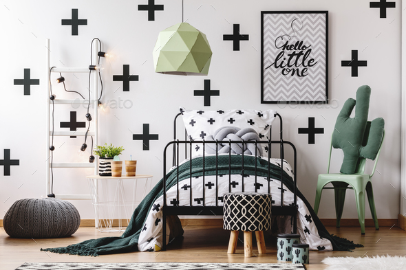 Kid's bedroom with green accents - Stock Photo - Images