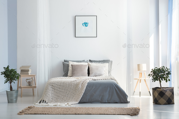 Soft gray and blue bedroom - Stock Photo - Images