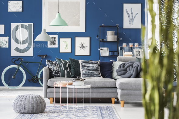 Room with bike and gallery - Stock Photo - Images