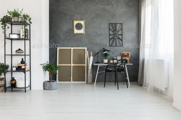 Simple workspace on gray wall - Stock Photo - Images