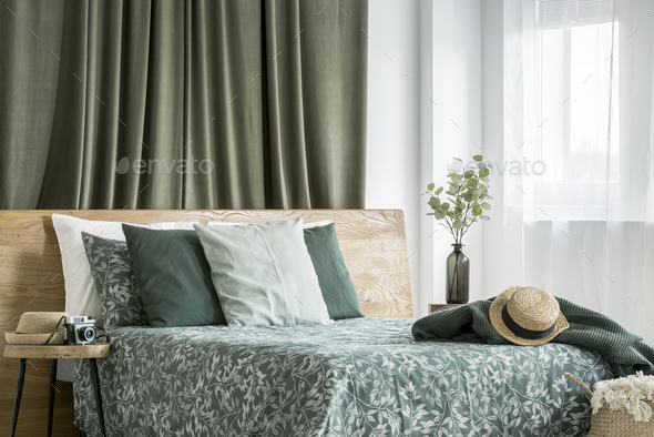 Moss green bedroom interior - Stock Photo - Images