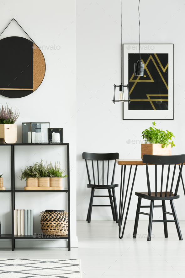 Hairpin table in dining room - Stock Photo - Images