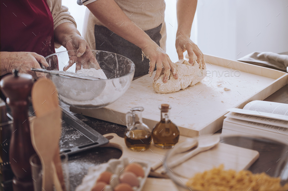 People making dough on board - Stock Photo - Images