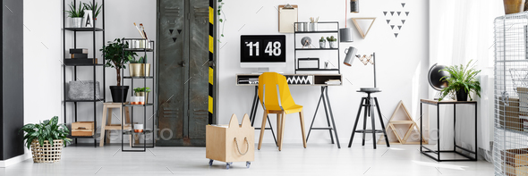Yellow chair and desktop computer - Stock Photo - Images