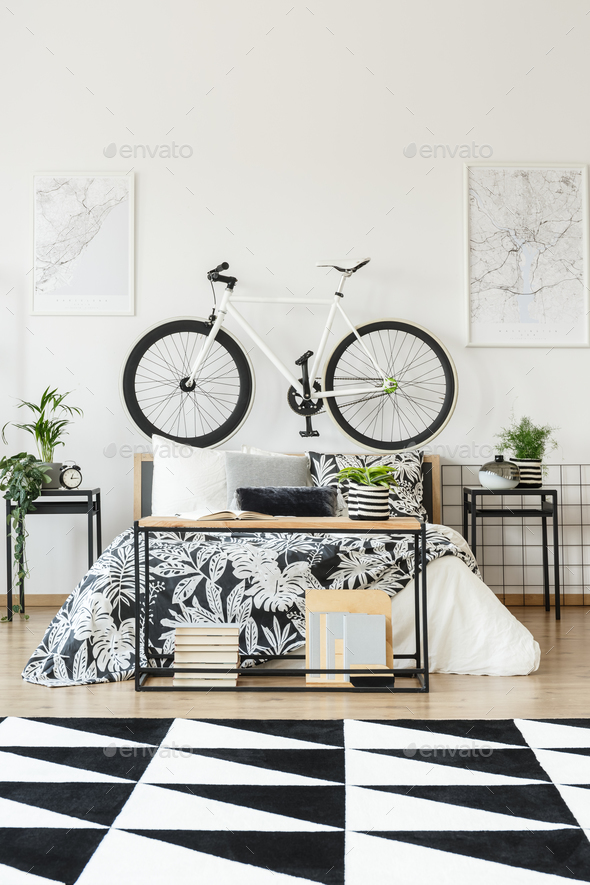 White bicycle in teenager's bedroom - Stock Photo - Images