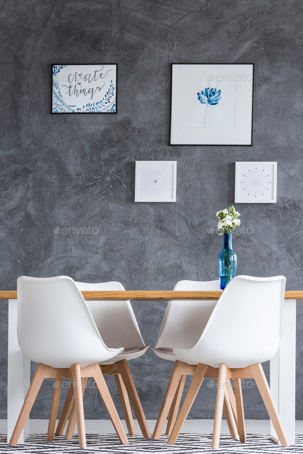 Dining room with concrete wall - Stock Photo - Images