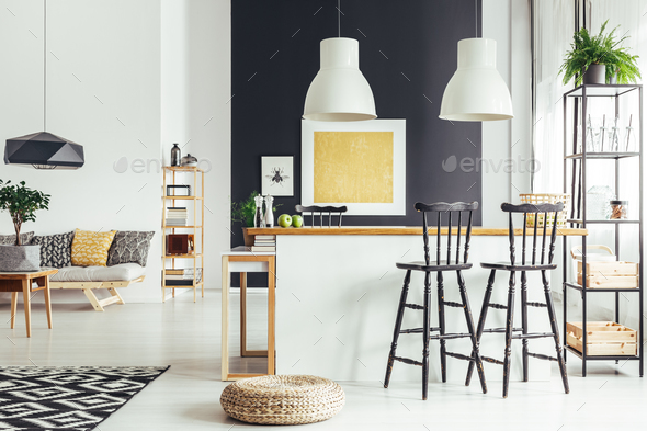 Room with rustic bar stools - Stock Photo - Images