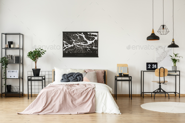 Workspace in bright bedroom - Stock Photo - Images