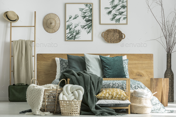 Knot cushion in basket - Stock Photo - Images