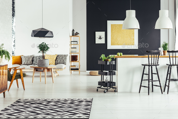 Multifunctional chic living room - Stock Photo - Images