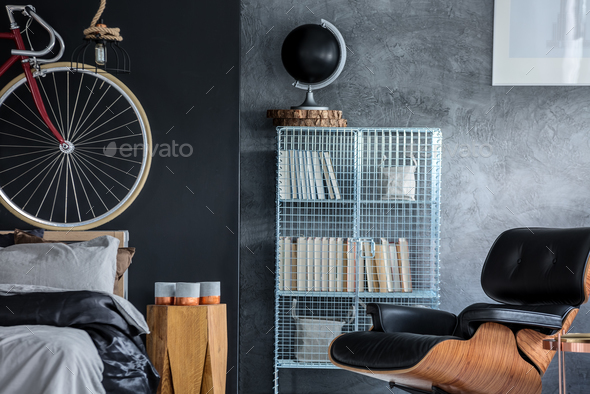 Dark interior with designer chair - Stock Photo - Images