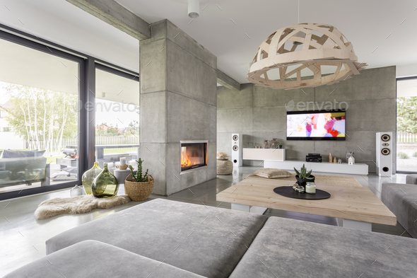 Living room with fireplace - Stock Photo - Images
