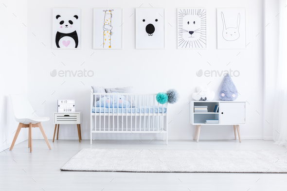Boy's bedroom with white furniture - Stock Photo - Images