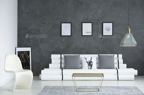 White and gray simple room - Stock Photo - Images