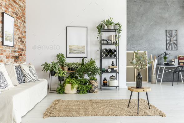 Modern open space living room - Stock Photo - Images