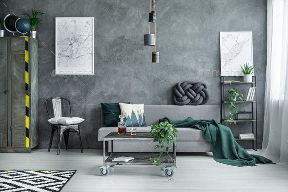 Dark industrial living room - Stock Photo - Images
