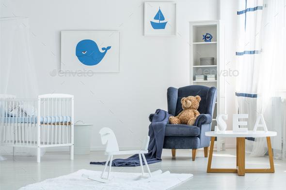 White marine kid's bedroom - Stock Photo - Images