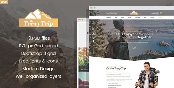 Trexy - Hiking And Outdoor Club PSD Template - Business Corporate