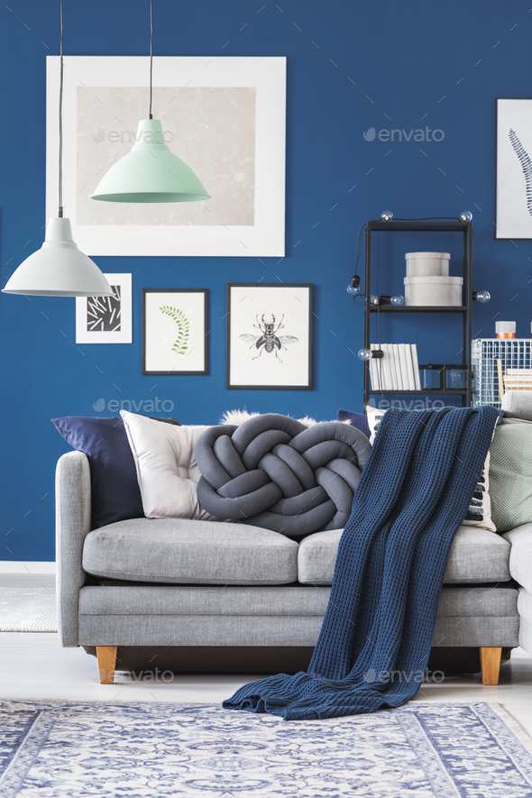 Blue blanket on grey sofa - Stock Photo - Images