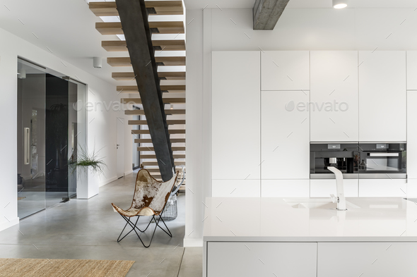 Kitchen with white tap - Stock Photo - Images
