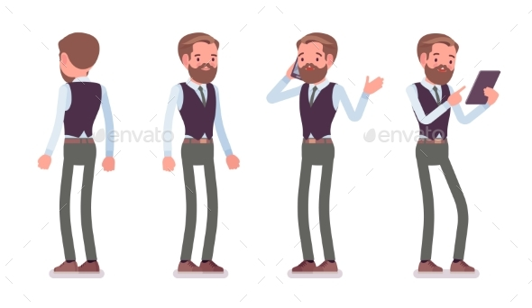 Male Office Employee Standing - Business Conceptual