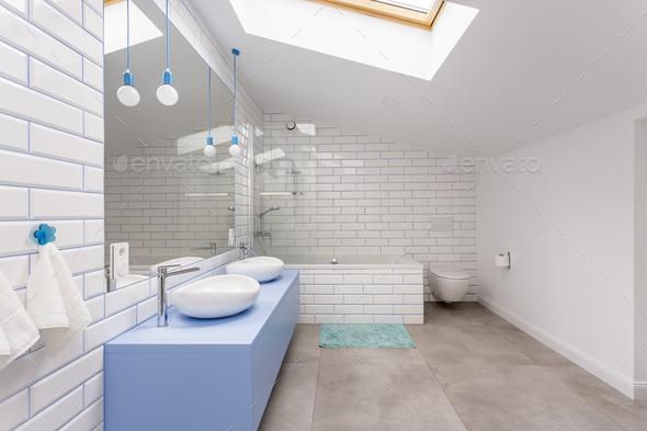 Simple bathroom in attic - Stock Photo - Images