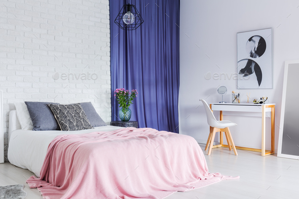 Pastel, contrast bedroom - Stock Photo - Images