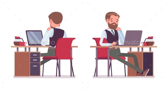 Male Office Employee Sitting at Desk - Business Conceptual
