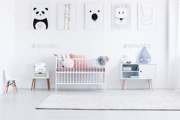 Tiger drawing in girl's bedroom - Stock Photo - Images