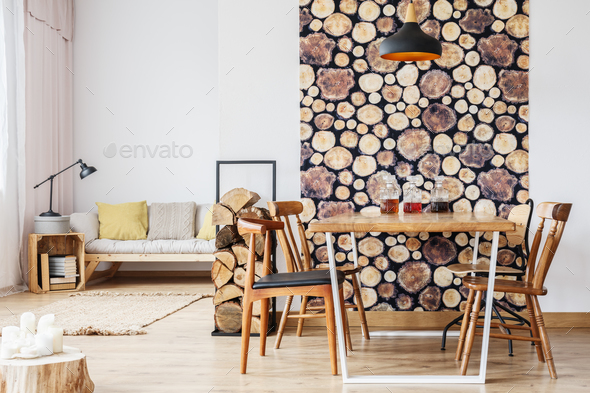Apartment with wood decoration - Stock Photo - Images