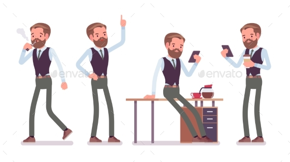 Male Office Employee Working - Business Conceptual