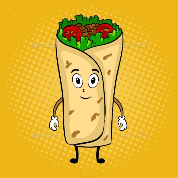 Burrito Cartoon Pop Art Vector Illustration - Food Objects
